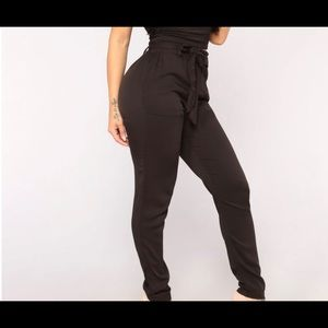 NWT Fashion New Classic Black Tie Waist Pants